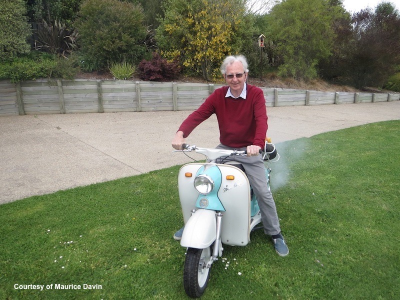 Maurice riding 1959 Sun Wasp scooter NZ Oct 2019